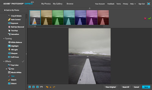 Adobe Photoshop Express: Tint Effect Interface