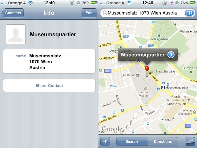 Integration Adressbuch und Google Maps am iPhone