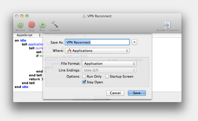 AppleScript Editor Save As Dialog for VPN Reconnect Script
