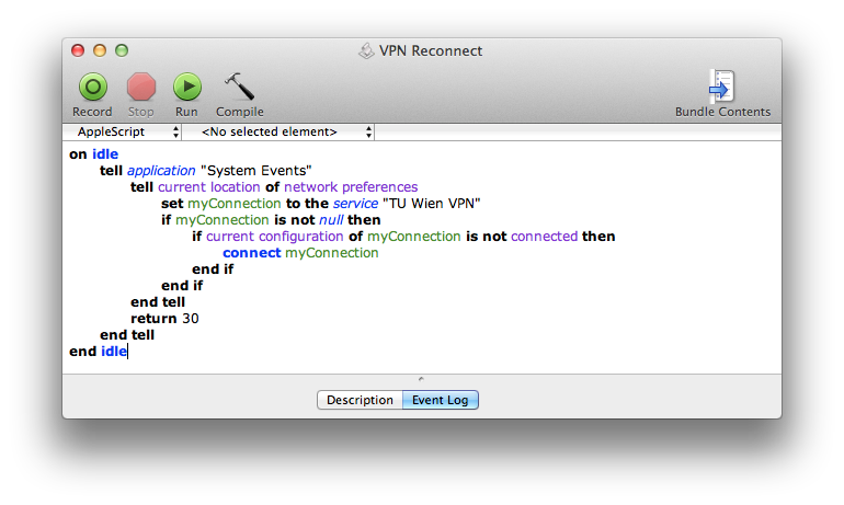 AppleScript Editor with VPN Reconnect Script